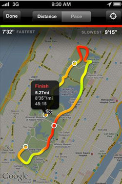 Nike+ GPS route on iPhone