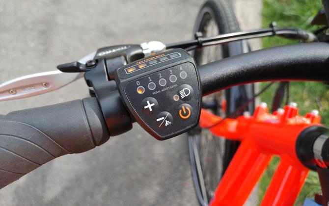 closeup shot of RadMission 1 power assist controls