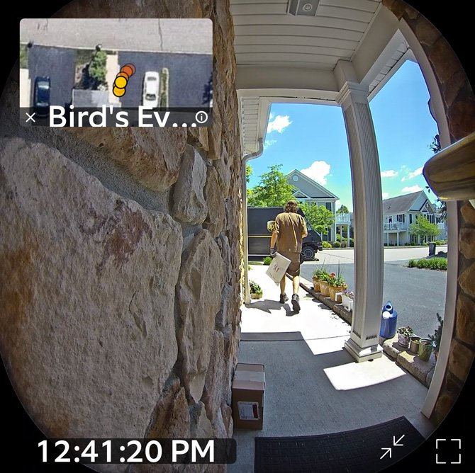 Screenshot of Ring Video Doorbell Pro 2 showing the path of UPS driver in the upper right and a still of the video as the larger image.