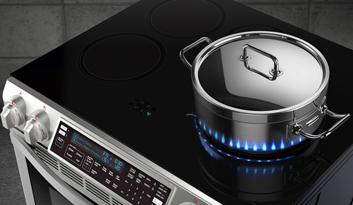 Samsung Chef Collection Slide-In Induction Range with Virtual Flame Technology