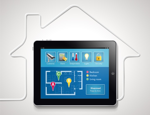 Smart home technology on a tablet