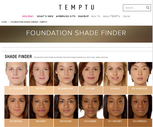 Temptu foundation finder