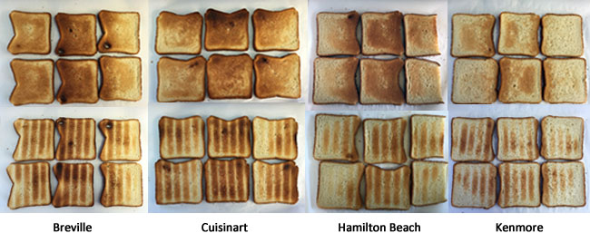Toaster oven toasting eveness comparison
