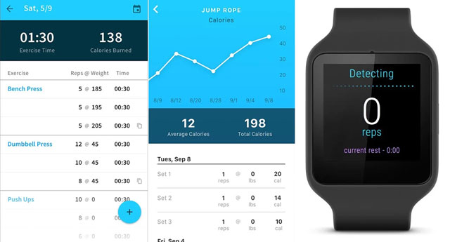 Tracker (Android) and Gymatic (iOS)