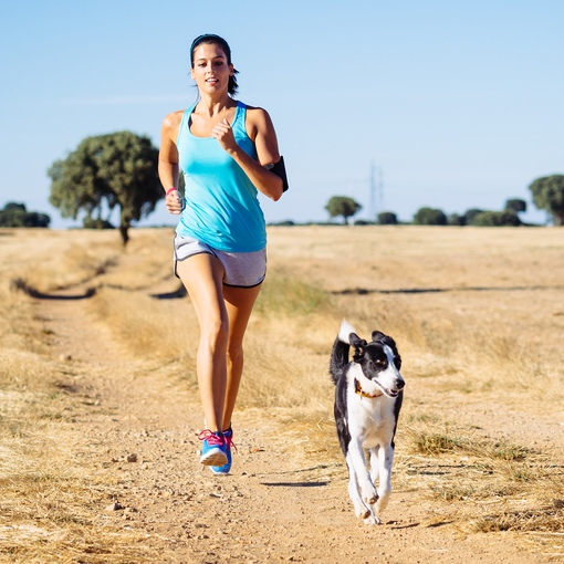 Woman exercising with her dog