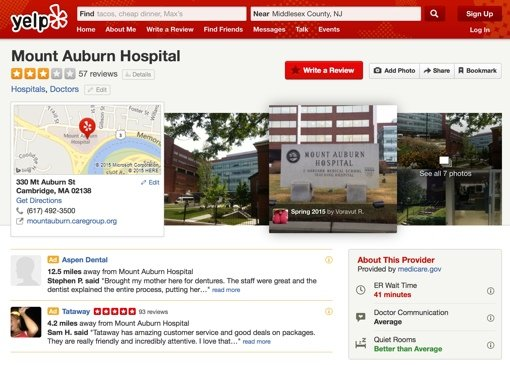 Yelp review page for Mount Auburn Hospital