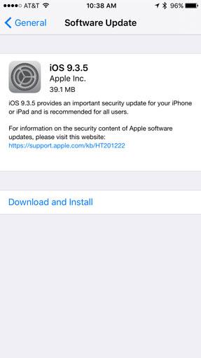 Installing iOS 9.3.5