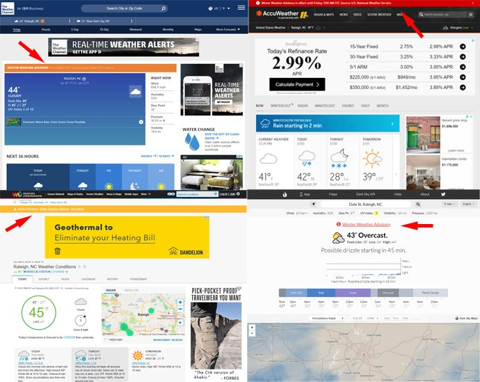 weather site design: weather advisories
