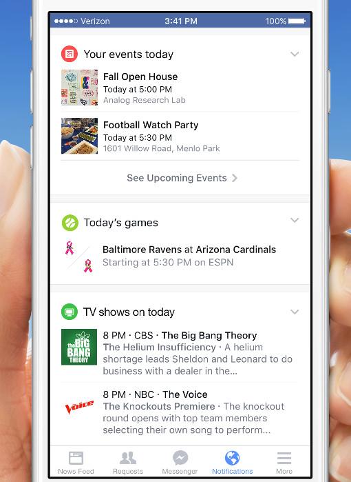 New Facebook app notifications tab