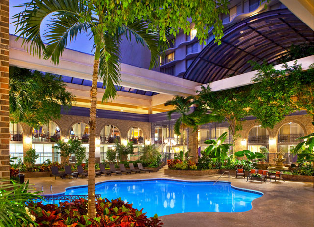 Sheraton Atlanta hotel pool has a retractable roof for winter swimming