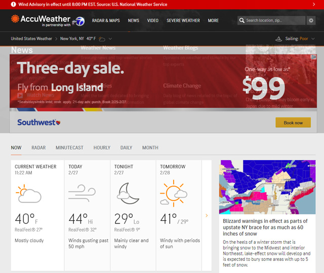 For hyperlocal forecasts: AccuWeather