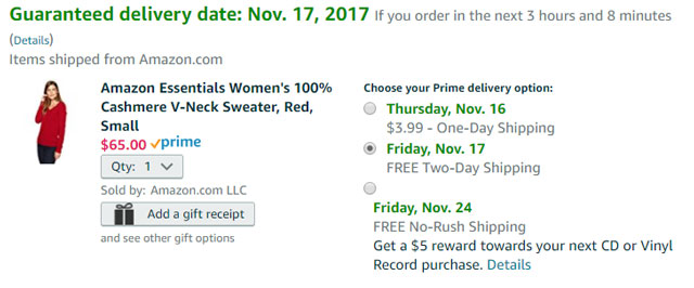 Amazon No-Rush Shipping