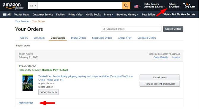 Archive order on Amazon