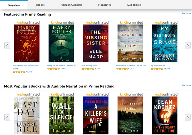 Amazon Prime Reading selection showing Featured titles (Harry Potter and Sorcerer's Stone, Harry Potter and the Chamber of Secrects, The Missing Sister, One for the Black Bird, One for the Crow, My Sister's Grave) and Most Popular eBooks with Audible Narration (Last Day, Wall of Silence, A Killer's Wife, Unspeakable Things, In the Heart of the Fire).