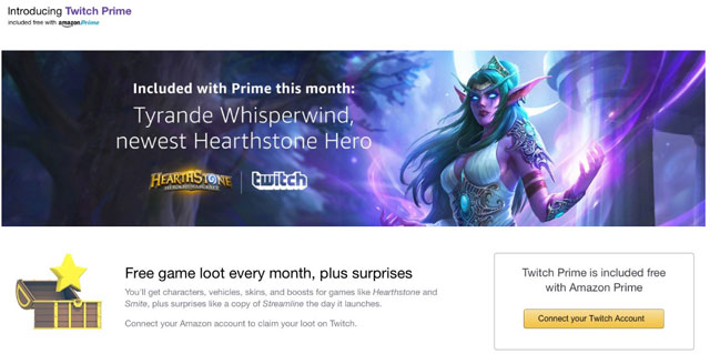 Twitch Prime is included free with Amazon Prime