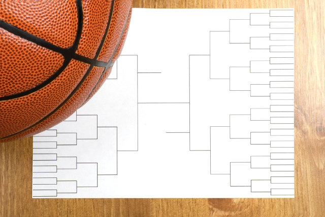 Basketball and bracket