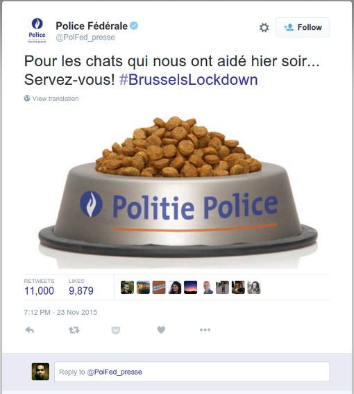 Tweet from Belgian police