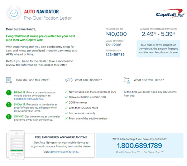 Capital One pre-qualification certificate