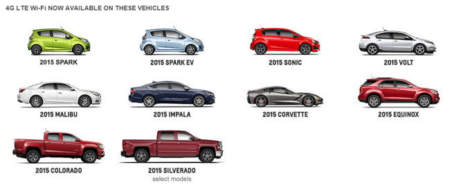 Chevrolet Wi-Fi car line-up