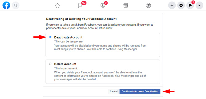 Facebook screenshot the Deactivating or Deleting Your Facebook Account page showing the options to Deactivate Account or Delete Account with the Deactivate Account radio button selected