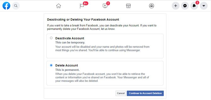 Facebook screenshot the Deactivating or Deleting Your Facebook Account page showing the option to Deactivate Account or Delete Account with the Delete Account radio button selected