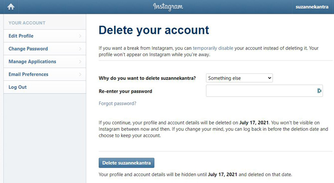 Instagram Delete your account page showing reason for account deletion, box for reentering your password and the delete button.
