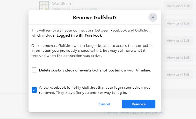 Screenshot of removing app from Facebook. Shows removing Golfshot game with the options to
