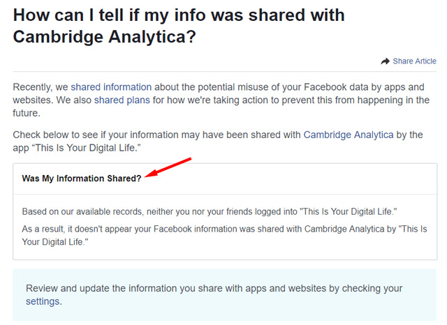 How can I tell if my info was shared with Cambridge Analytica?