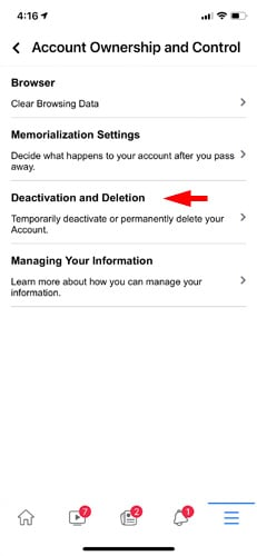 Facebook Account Ownership and Control screenshot pointing out Deactivation and Deletion option