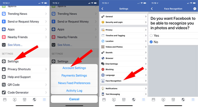 How to access Facebook facial recognition settings