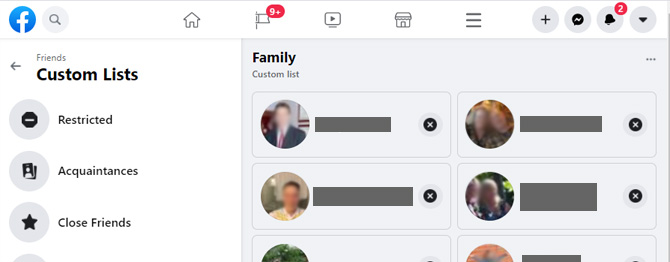 Screenshot of Facebook's Friends Custom Lists page showing Restricted, Acquaintances and Close Friends as lists. On the right is a Family custom list with images of people below.