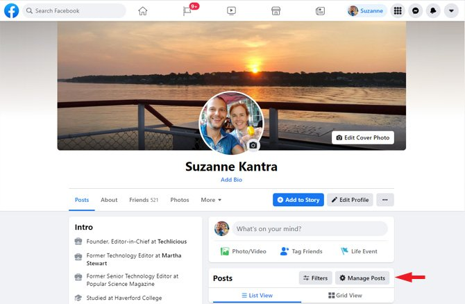 Screenshot of Facebook profile page. On the right side, you see from the top: Edit cover Photo, Edit Profile, Life Event and then Manage Posts, which is pointed out.