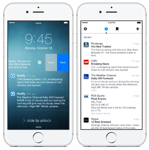 Facebook Notify app screenshot