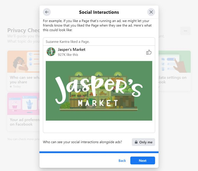 Screenshot of sample of a social interaction ad. It shows that the person liked a Page with the image of the Page's logo beneath. Underneath, you can choose