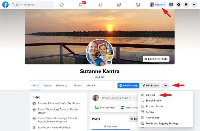 Screenshot of Facebook profile page. You see in the top menu bar the person's name pointed out. Below on the right you see three dots pointed out with a drop-down menu with View as (pointed out), Search Profile, Account Status, Archive, Activity Log and Profile and Tagging Settings.