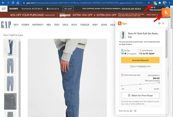 Gap page for Teen Fit Tech Pull-On Pants showing the Honey browser extension popup window with price history and the option to add to Droplist. The Honey browser bar icon and the on-page Honey icon are pointed out.