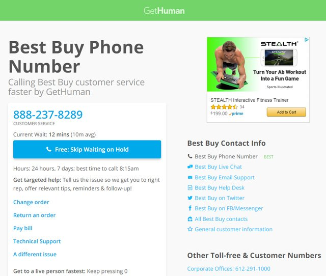 GetHuman Best Buy listing