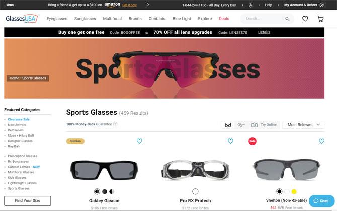 Best for sports glasses: GlassesUSA