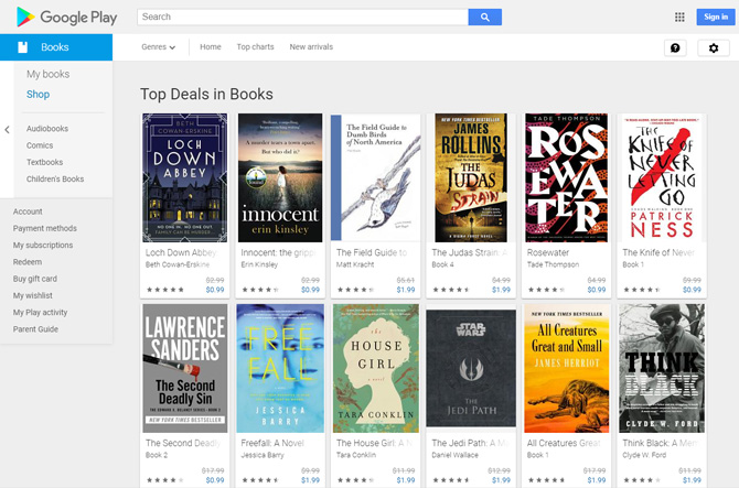 Google Play Books screenshot showing Top Deals in Books (Lock Down Abbey, Innocent, The Field Guide to Dumb Birds of North America, The Judas Strain, Rosewater, The Knife of Never Letting Go, The Seconds Deadly Sin, Free Fall, House Girl, Star Wars The Jedi Path, All Creatures Great and Small, Think Black)