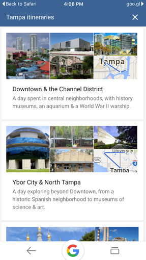 Google Destinations help you plan your trip with suggested itineraries
