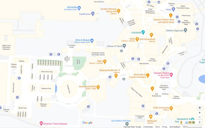 Google Maps screenshot of the interior of Caesar's Palace in Las Vegas. You can see the stores, hotel towers, restaurants and other venues.