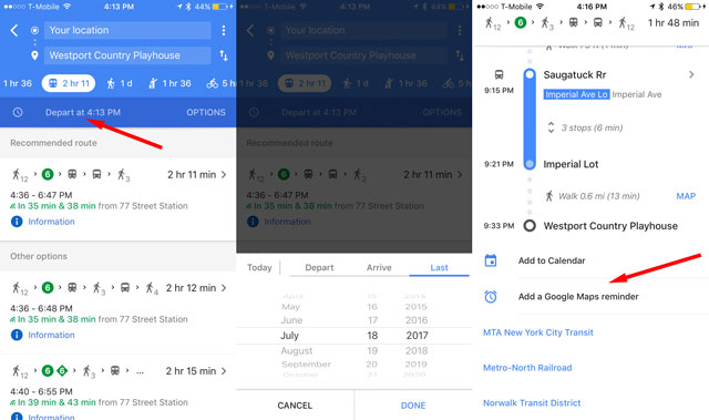 Google Maps: Catch the last train