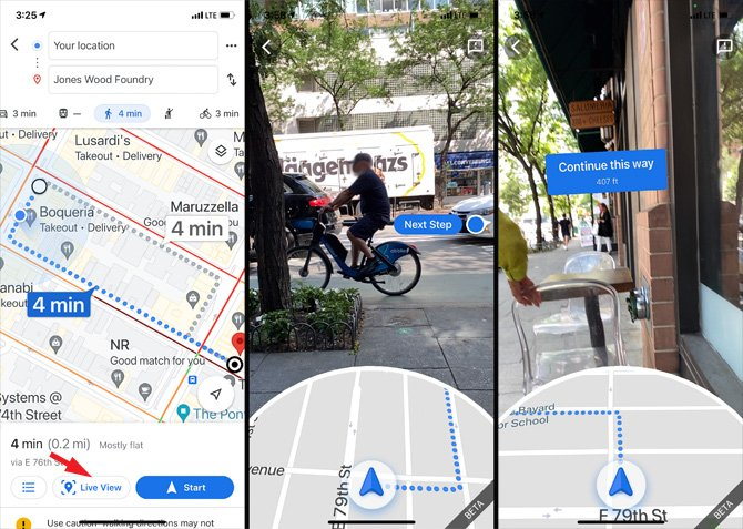 Google Maps screen shots showing the Live View Feature. In screenshot 1, you see a map walking directions from Your location to Jones Woods Foundry. On bottom of the screen is the estimated time to destination, Live View (pointed out), and Start. In the 2nd screenshot you bee a map with a directional arrow at the bottom and an image showing the street and