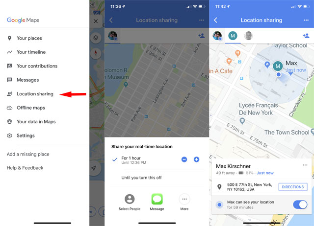 Google Maps: Location Sharing