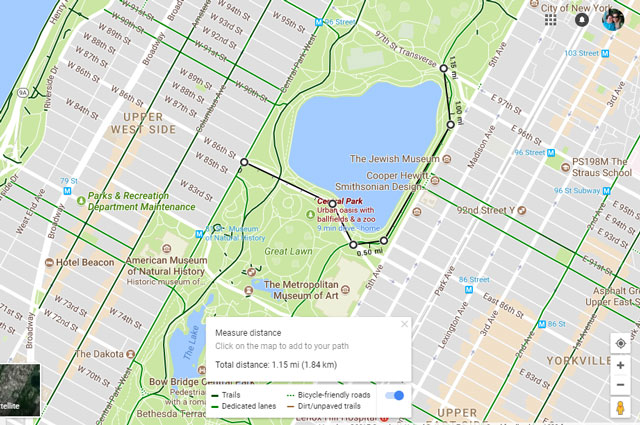 Google Maps: Measure distances