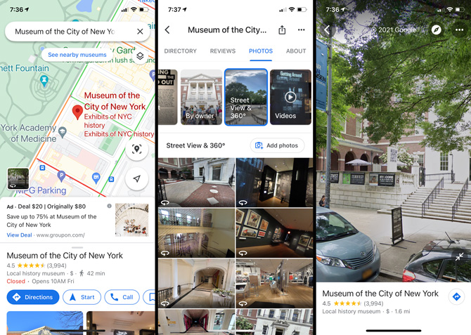 Google Maps: See inside places