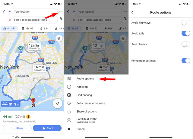 Google Maps: Avoid paying tolls