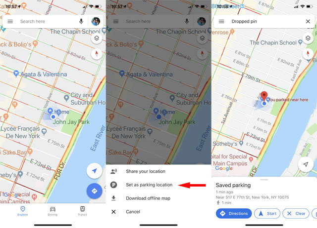Google Maps: Remember where you parked