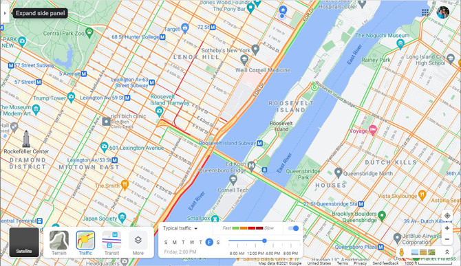 Screenshot of Google Maps showing options for showing satellite, terrain, traffic, transit and more options layered on top of map. You can also see a box that shows typical traffic for days of the week and time of day. At the top left there is a right facing triangle pointed out with the word expand side panel.