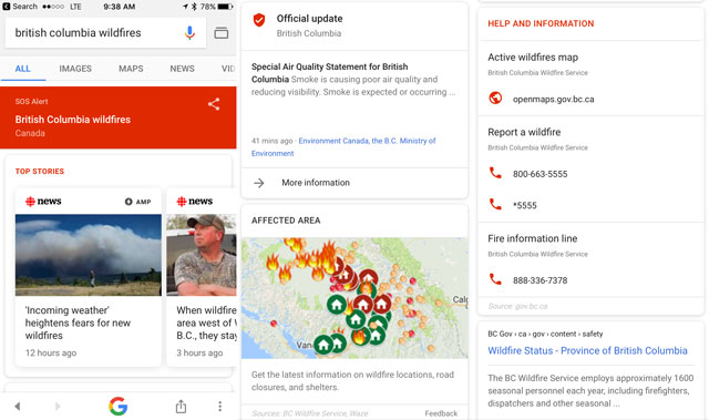Google SOS - British Columbia wildfires